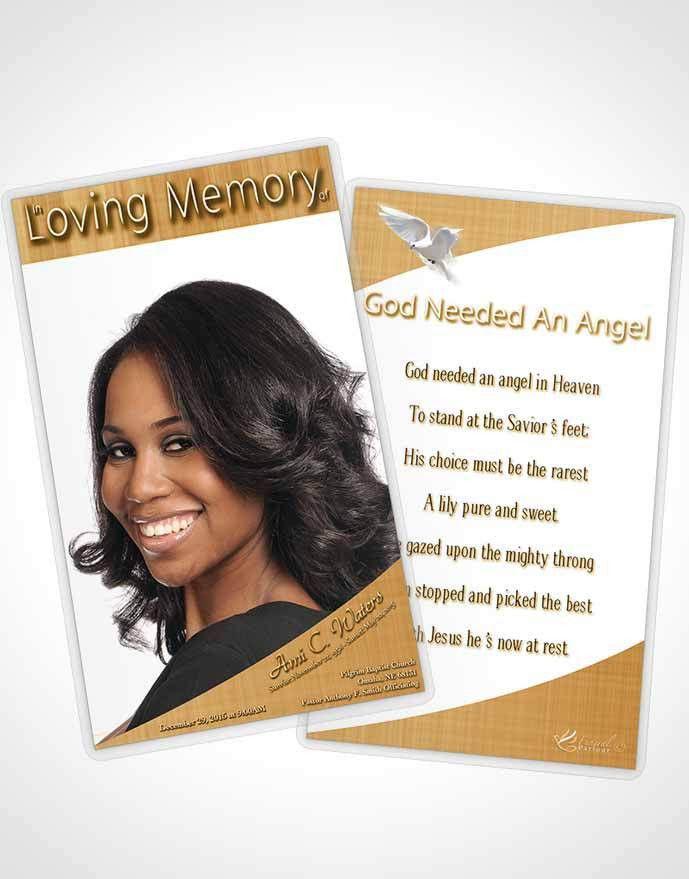 Bifold Order of Service Obituary Template Brochure Golden Simplicity