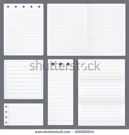 Set Different Blank White Lined Paper Stock Vector 407277937 ...
