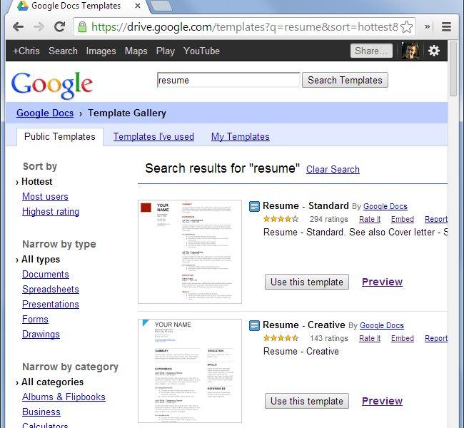 Google Doc Resume Templates - Resume Example