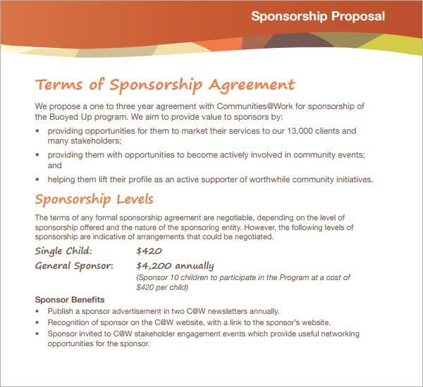 Sponsorship Proposal Template | peerpex
