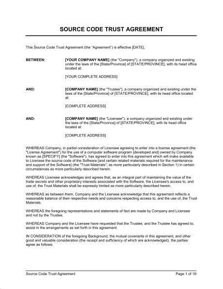 Source Code Trust Agreement - Template & Sample Form | Biztree.com