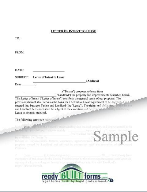 Letter of Intent to Lease Commercial Property-Download Now