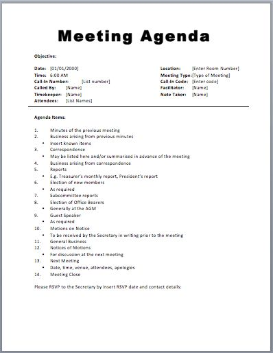 staff meetings agenda template | Automotive