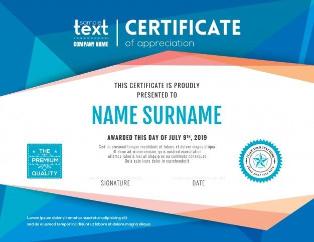 Modern certificate with blue polygonal background design template ...