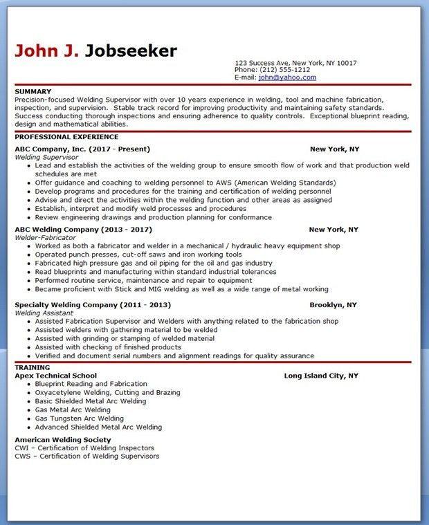 Welder Supervisor Resume Samples | Creative Resume Design ...