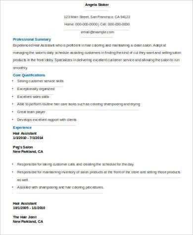 Sample Hair Stylist Resume - 6+ Examples in Word, PDF