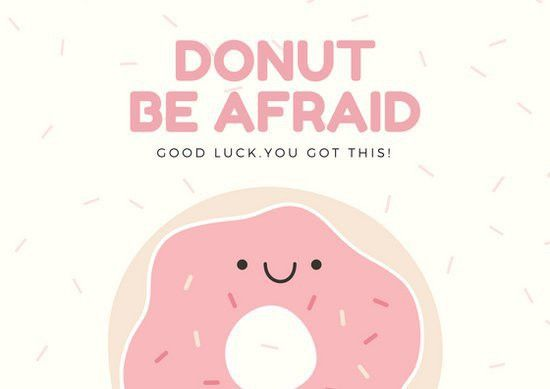 Cream and Pink Donut and Sprinkles Good Luck Card - Templates by Canva