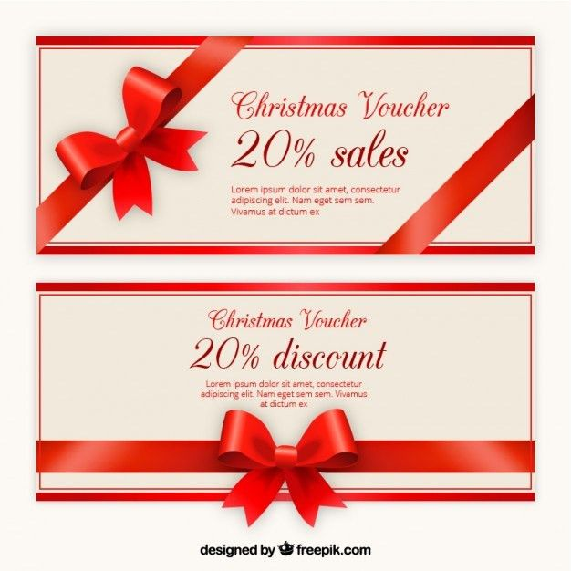 Christmas Voucher Discount Template Pack Vector | Free Download