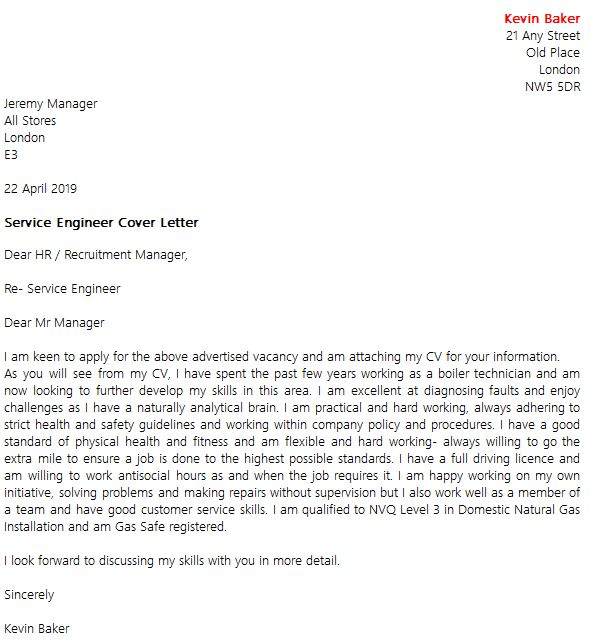 Service Engineer Cover Letter Example - icover.org.uk