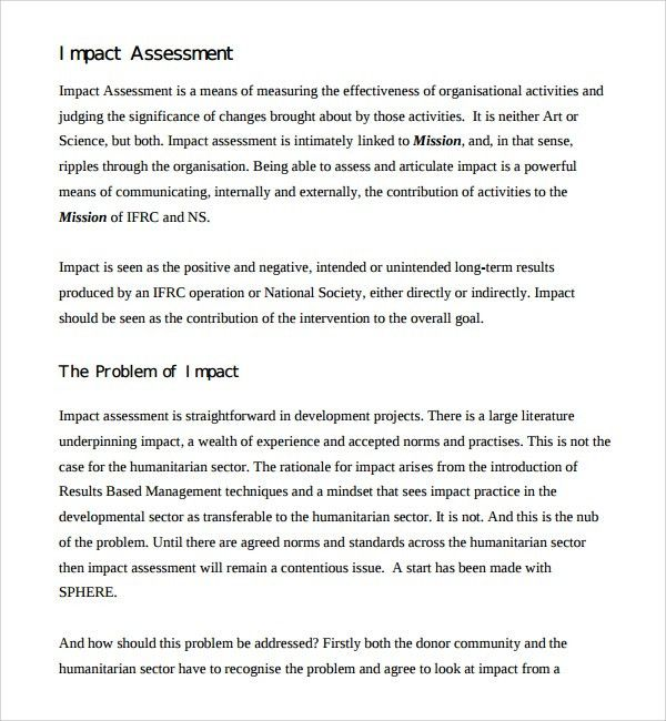 Impact Assessment Template] Sample Impact Assessment 8 Documents In ...