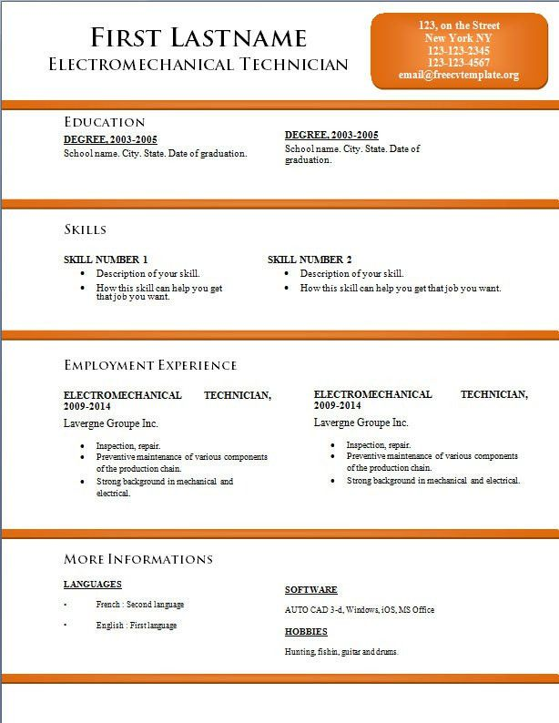 Free CV resume templates #170 to 176 – freecvtemplate.org
