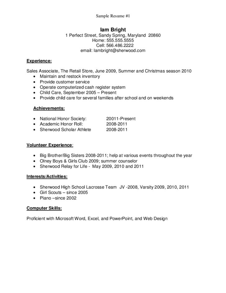 sample high school graduate resume no work experience. example ...
