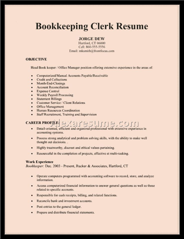 Sample Cover Letter For Bookkeeper