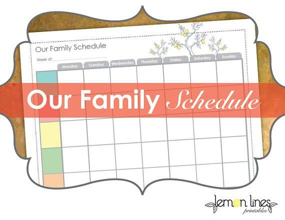 Weekly Family Schedule Printable INSTANT DOWNLOAD