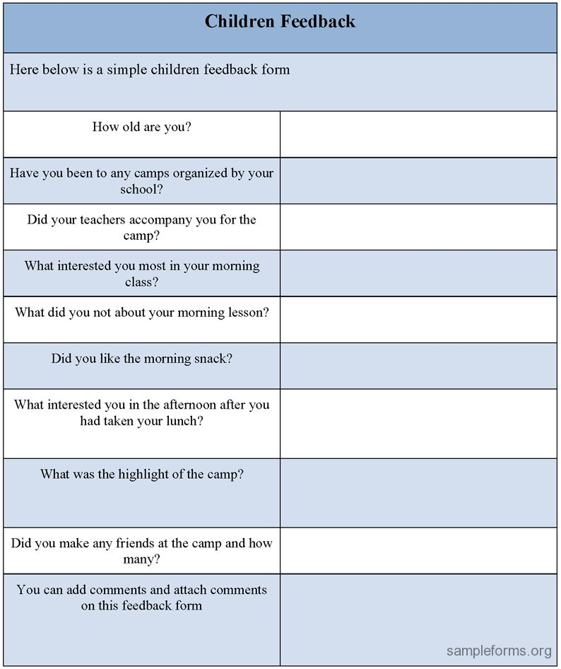 Children Feedback Form, Sample Children Feedback Form | Sample Forms