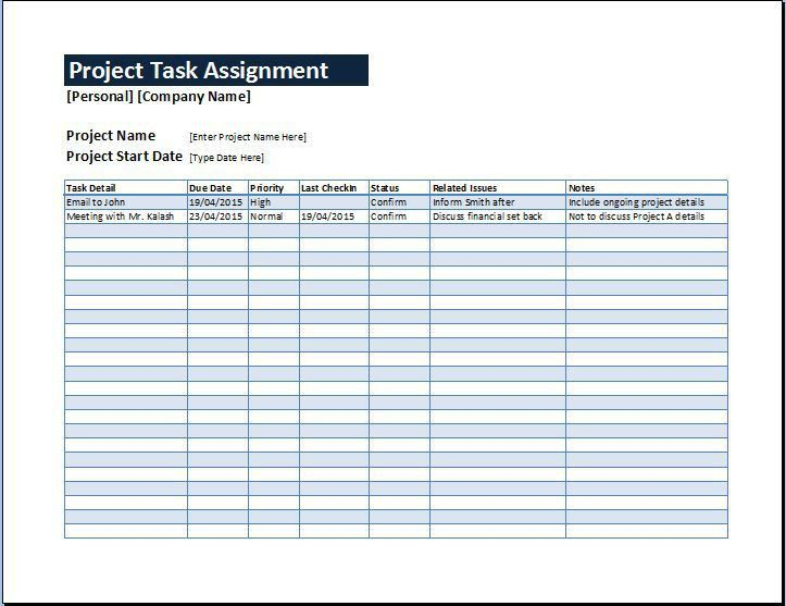 Project Task Assignment Management Sheet | Word & Excel Templates