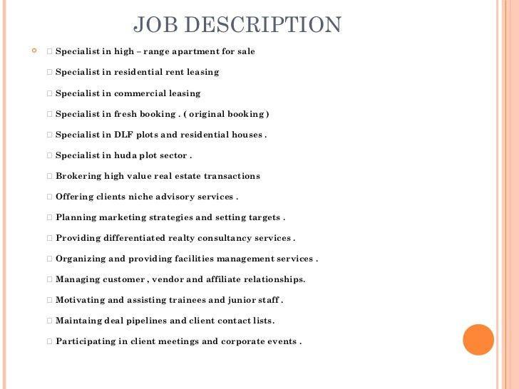 effective resume sample for real estate agent. job description ...