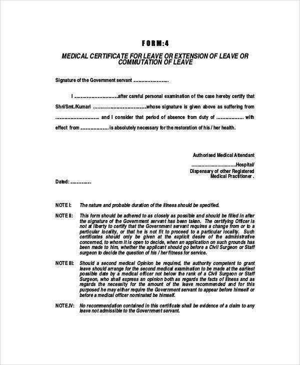 Medical Certificate Format. 8+ Medical Leave Certificate Format ...