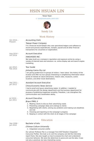 Accounting Clerk Resume samples - VisualCV resume samples database