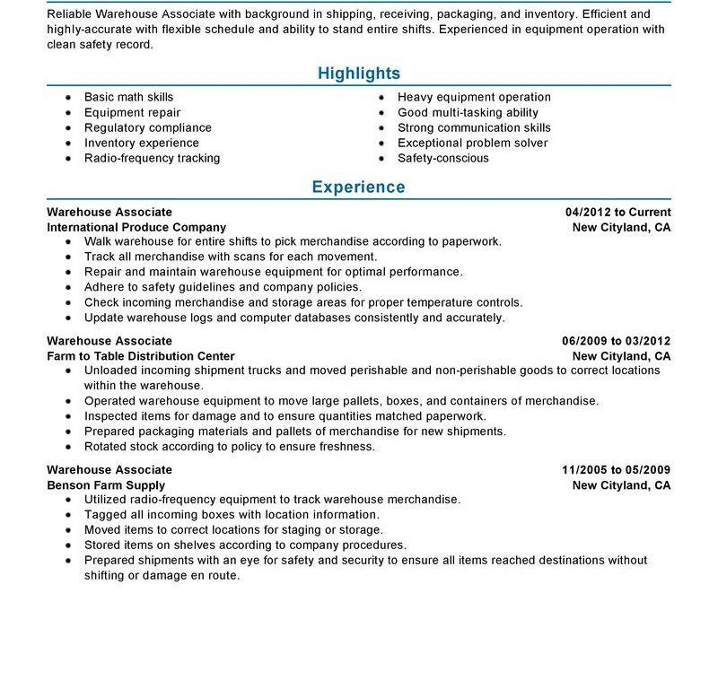 sample resume for warehouse unforgettable warehouse associate