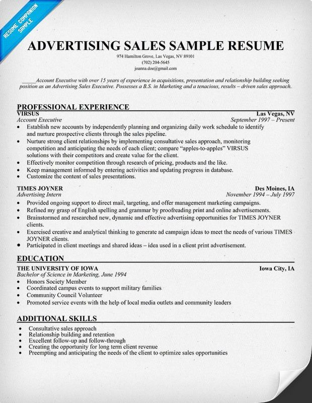 Advertising Sales Resume Sample (resumecompanion.com) | Resume ...