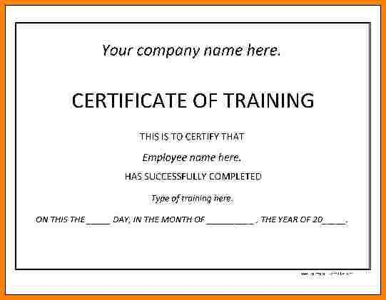 Training certificate format sample training certificate template 7 training certificate format sample of invoice yadclub Image collections