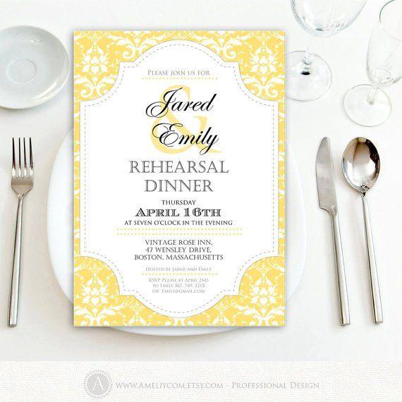 Printable Rehearsal Dinner Invitation Engagement Gold DIY
