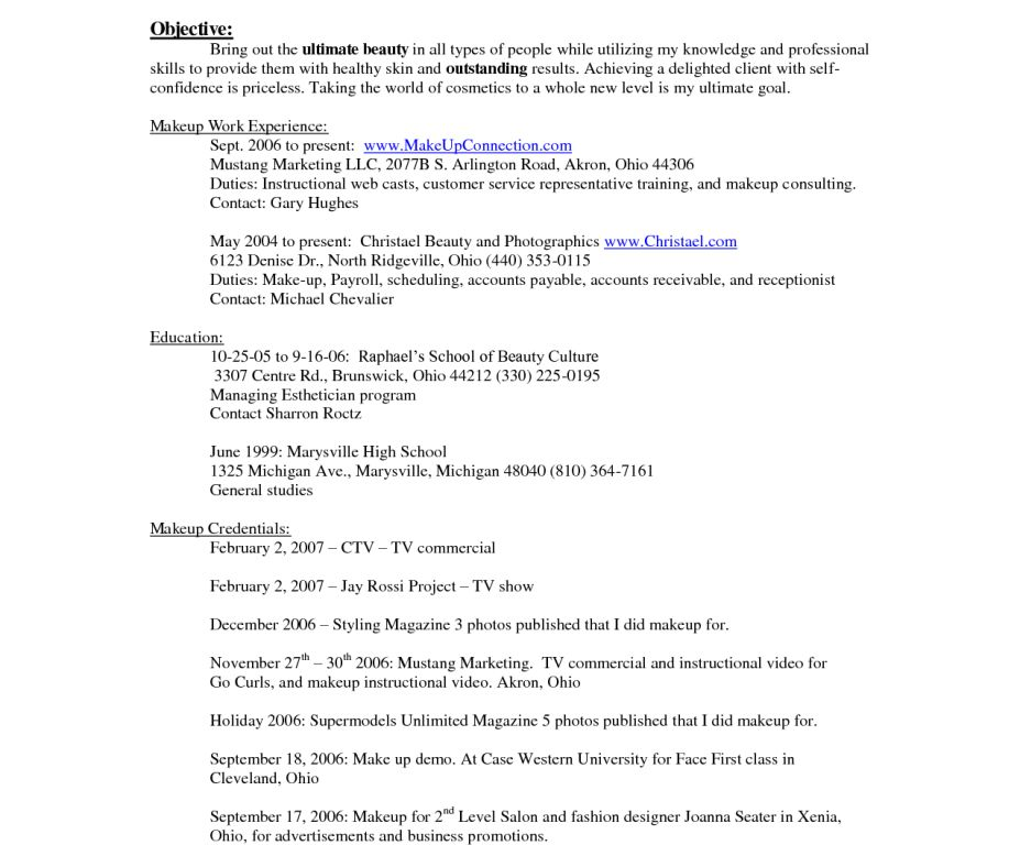 Makeup Artist Resume Entry Level - Contegri.com