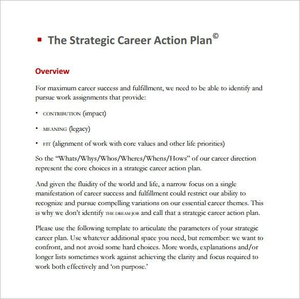 Career Action Plan Template – 8+ Free Word, Excel, PDF Format ...