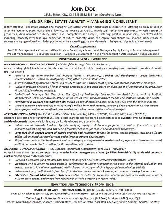 Real Estate Resume Example - Analyst - Consultant
