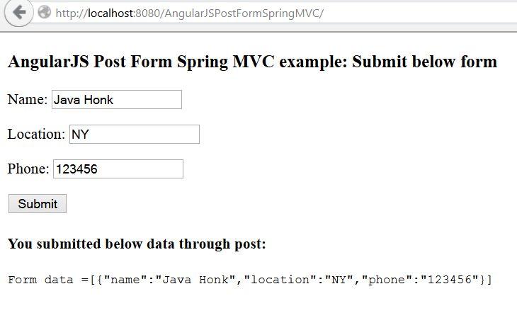 AngularJS Form Post Spring MVC JSON example