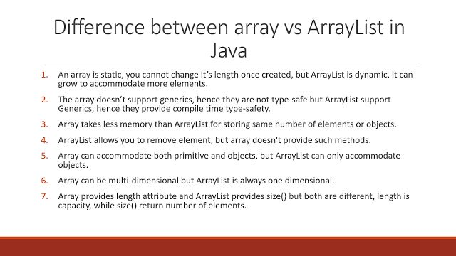9 differences between Array and ArrayList in Java | Java Code ...