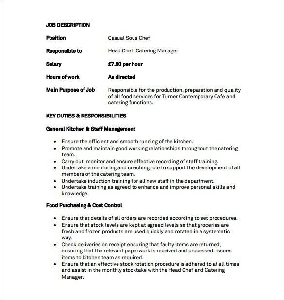 Sous Chef Job Description Template – 8+ Free Word, PDF Format ...