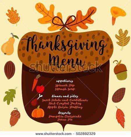 Thanksgiving Menu Invitation Design Thanksgiving Dinner Stock ...