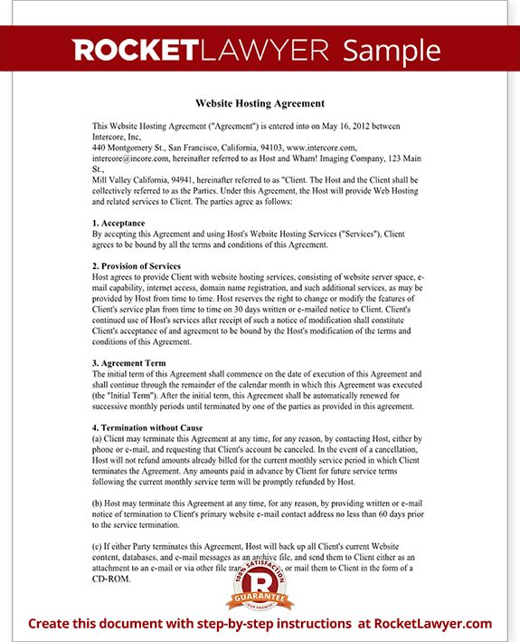 Web Hosting Agreement Template - Website Hosting Contract (with ...