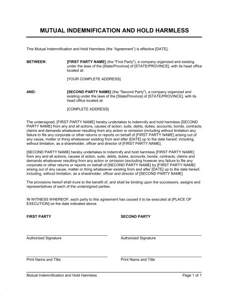 Undertaking of Indemnification - Template & Sample Form | Biztree.com