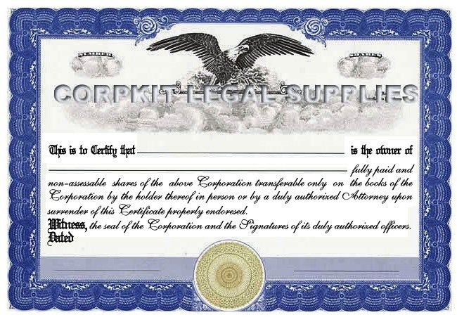 Personalize Stock Certificates Single Class Corporation :: Print ...