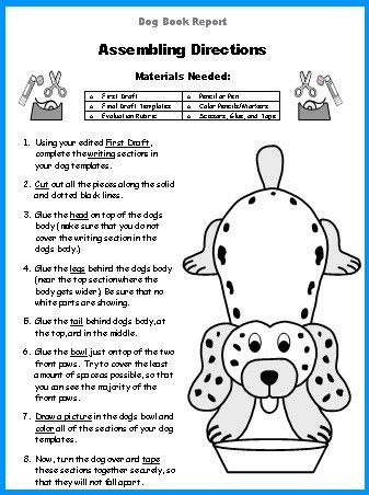 Dog Book Report Project: dog shaped templates, printable ...