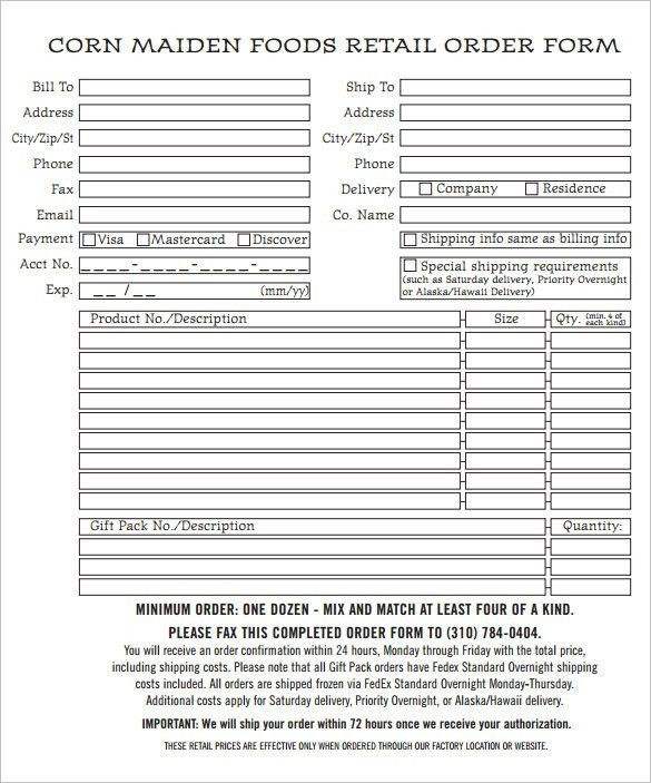 Order Form Template U2013 27+ Free Word,Excel, PDF, Documents Download .