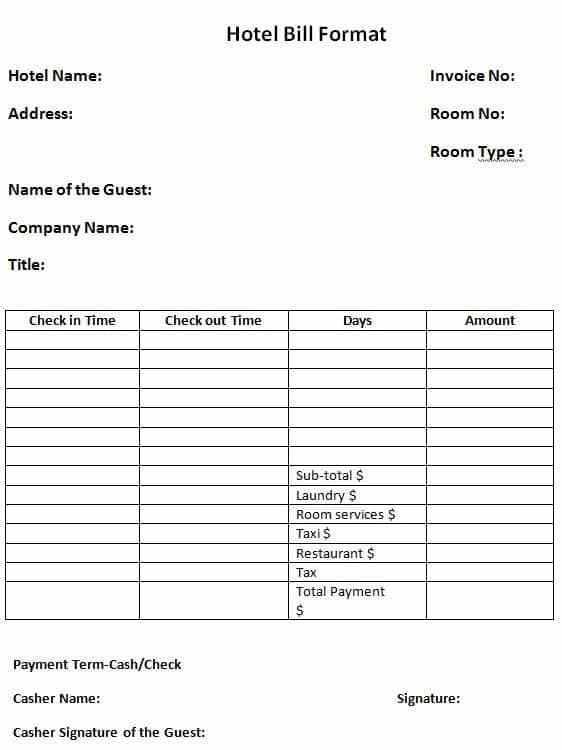Hotel Expense Bill Format {Word-PDF} | Project Management ...