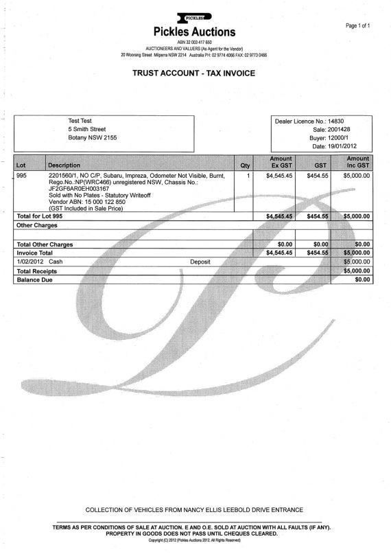 Sample auction invoices - NZTA Vehicle Portal