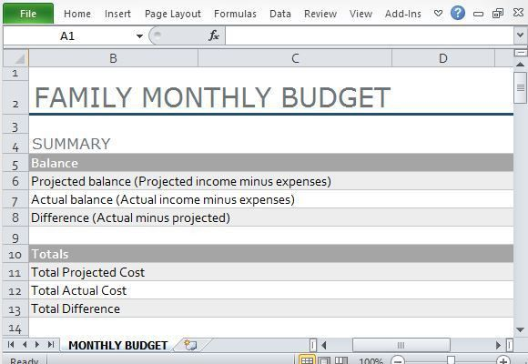 family monthly budget spreadsheet