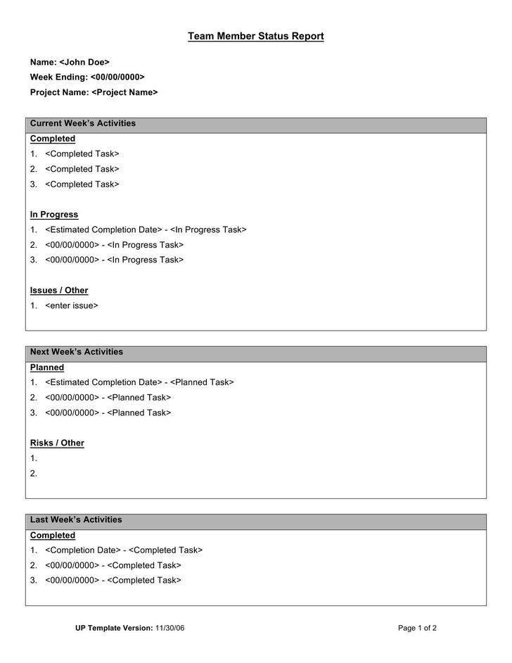 Sample Status Report. 10 Project Status Report Sample Sample ...