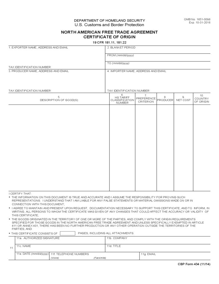 CBP Form 434 - North American Free Trade Agreement Certificate of ...