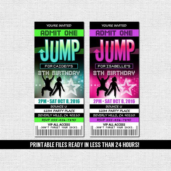 JUMP TICKET INVITATIONS Bounce House Trampoline Park Neon Birthday ...