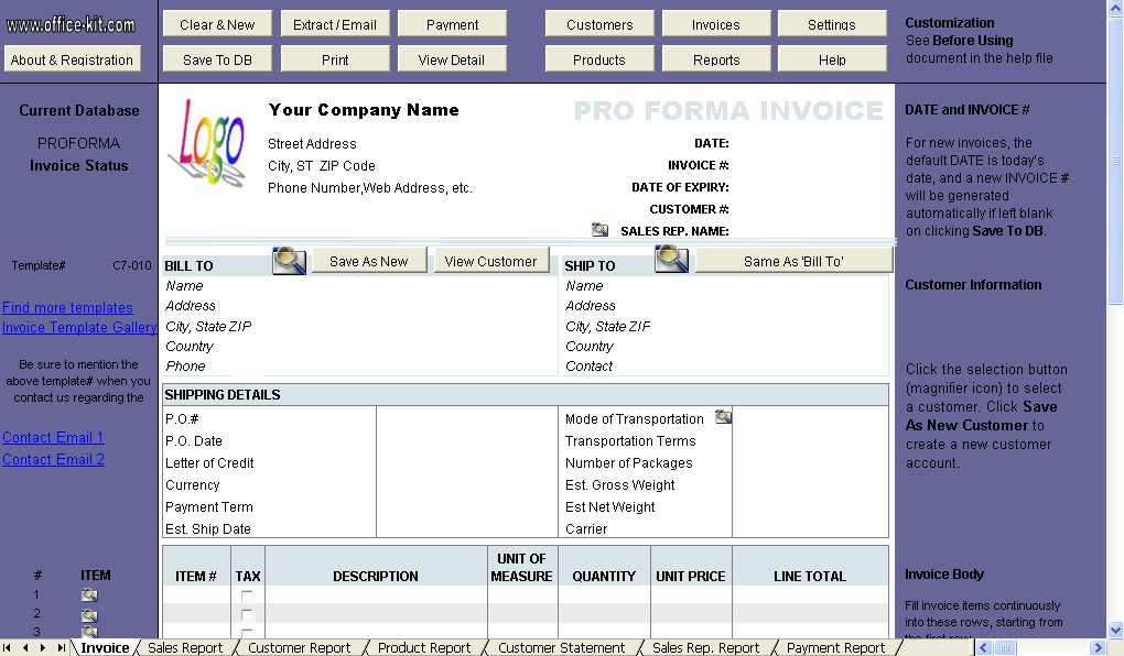 Free Proforma Invoice Template - Uniform Invoice Software