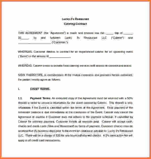 Catering Contract Template.Restaurant Catering Contract Word ...