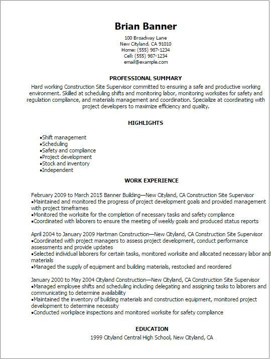 Professional Construction Site Supervisor Resume Templates to ...