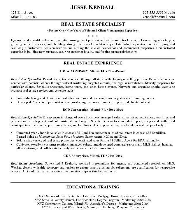 real estate resume real_estate_resume_example_1. real estate agent ...
