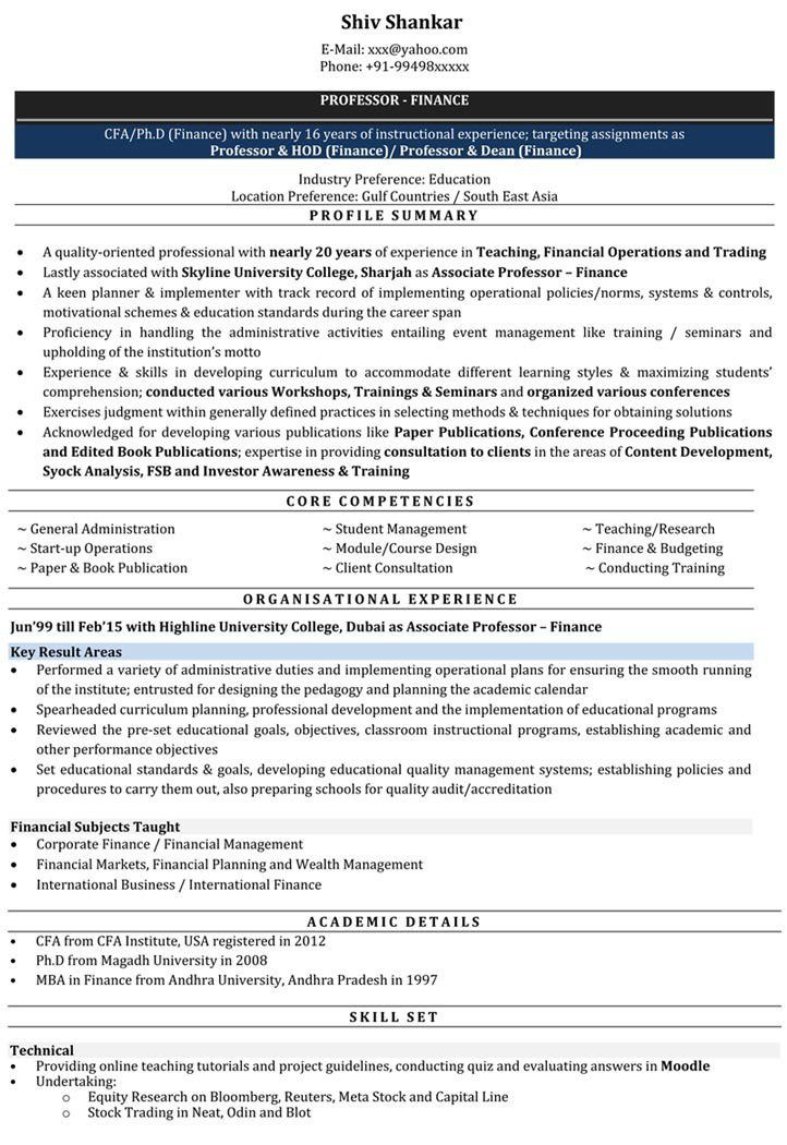 Lecturer Resume Samples | Sample Resume for Lecturer - Naukri.com
